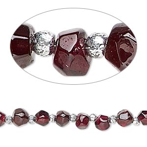 bead, garnet (dyed), 3x3mm-5x4mm hand-cut faceted double cone, c grade, mohs hardness 7 to 7-1/2. sold per 8-inch strand.