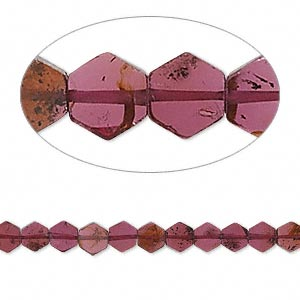 bead, garnet (dyed), 4x1mm-5x4mm hand-cut flat hexagon, b grade, mohs hardness 7 to 7-1/2. sold per 16-inch strand.