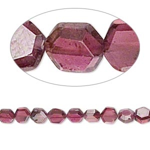 bead, garnet (dyed), 4x4mm-5x5mm hand-cut faceted flat hexagon, b grade, mohs hardness 7 to 7-1/2. sold per 16-inch strand.
