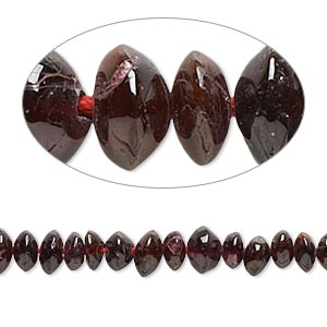 bead, garnet (dyed), 5x3mm-6x4mm hand-cut saucer, c- grade, mohs hardness 7 to 7-1/2. sold per 14-inch strand.