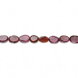 bead, garnet (dyed), 5x4mm-6x4mm faceted oval, c grade, mohs hardness 7 to 7-1/2. sold per 14-inch strand.