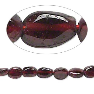bead, garnet (dyed), 6x5mm-9x6mm hand-cut puffed oval, d grade, mohs hardness 7 to 7-1/2. sold per 14-inch strand.