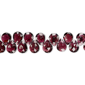 bead, garnet (dyed), 7x5mm-8x6mm hand-cut top-drilled faceted puffed teardrop, b grade, mohs hardness 7 to 7-1/2. sold per 4-inch strand.