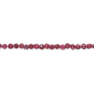 bead, garnet (dyed), matte, 3mm hand-cut faceted round, b- grade, mohs hardness 7 to 7-1/2. sold per 16-inch strand.