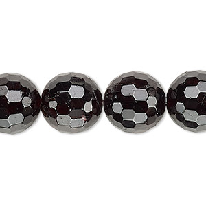 bead, garnet (natural), 13-14mm faceted round, c+ grade, mohs hardness 7 to 7-1/2. sold per 8-inch strand.