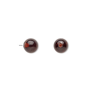 bead, garnet (natural), 6mm half-drilled round with 0.4-1.4mm hole, b grade, mohs hardness 7 to 7-1/2. sold individually.
