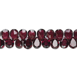 bead, garnet (natural), 7x4mm-9x5mm hand-cut top-drilled faceted flat teardrop, b grade, mohs hardness 7 to 7-1/2. sold per 16-inch strand.