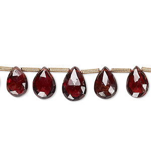 bead, garnet (natural), 7x5mm-10x7mm graduated hand-cut top-drilled faceted puffed teardrop, b grade, mohs hardness 7 to 7-1/2. sold per 19-piece set.