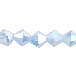 bead, glass, 16-facet, frost light blue ab2x, 10mm faceted bicone. sold per 16-inch strand.