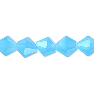 bead, glass, 16-facet, frost turquoise blue, 10mm faceted bicone.. sold per 16-inch strand.