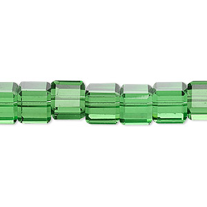 bead, glass, 18-facet, green, 8x8mm faceted cube. sold per 16-inch strand.