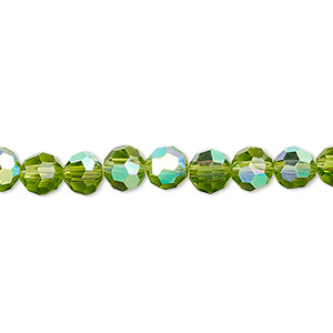bead, glass, 32-facet, peridot green ab, 6mm faceted round. sold per 16-inch strand.