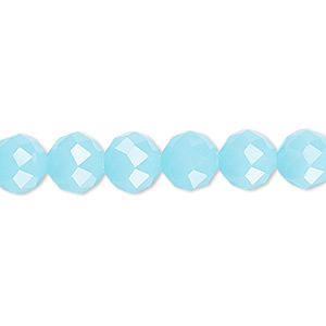 bead, glass, 48-facet, frost turquoise blue, 8mm faceted round. sold per 16-inch strand.