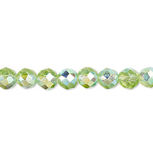 bead, glass, 48-facet, lime green ab, 6mm faceted round. sold per 16-inch strand.