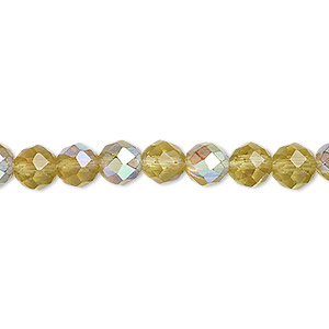 bead, glass, 48-facet, olive ab, 6mm faceted round. sold per 16-inch strand.