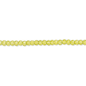 bead, glass, 48-facet, peridot green, 2.5x2mm faceted rondelle. sold per 8-inch strand, approximately 100 beads.