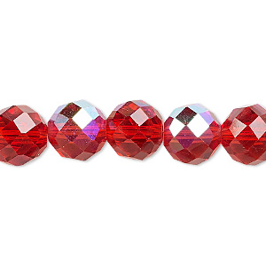 bead, glass, 48-facet, red ab, 10mm faceted round. sold per 16-inch strand.
