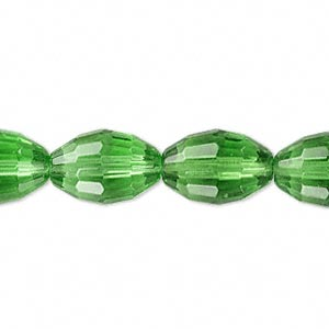 bead, glass, 66-facet, green, 15x10mm faceted oval. sold per 16-inch strand.