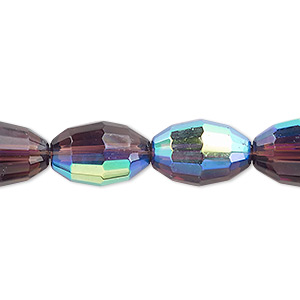 bead, glass, 66-facet, medium purple ab, 15x10mm faceted oval. sold per 16-inch strand.