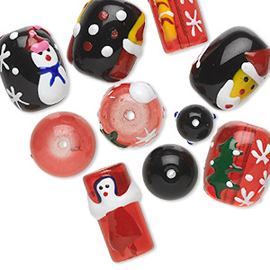 bead, glass and epoxy, black / red / multicolored, 8-14mm round / 18x14mm double-sided barrel / 20x10mm round tube with christmas-themed designs. sold per pkg of 10.