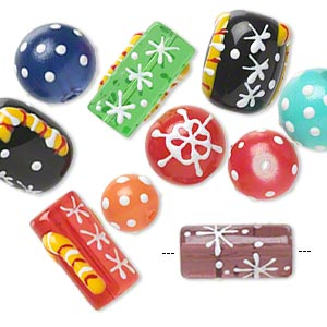 bead, glass and epoxy, multicolored, 10-14mm round / 18x14mm double-sided barrel / 20x10mm round tube with christmas-themed designs. sold per pkg of 10.