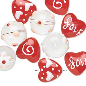 bead, glass and epoxy, multicolored, 14mm round and 14x14mm double-sided flat heart with valentine-themed designs. sold per pkg of 10.