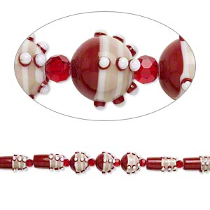 bead, glass and lampworked glass, brick red / brown / white, 6mm faceted round / 14mm bumpy round / 22x10mm bumpy round tube. sold per 7-inch strand.