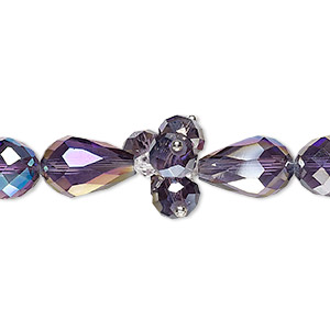 bead, glass and silver-finished brass, clear and metallic purple, 4mm faceted bicone / 8x6mm faceted rondelle / 15x10mm faceted teardrop. sold per 8-inch strand.