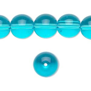 bead, glass, aqua blue, 12mm round. sold per 36-inch strand.