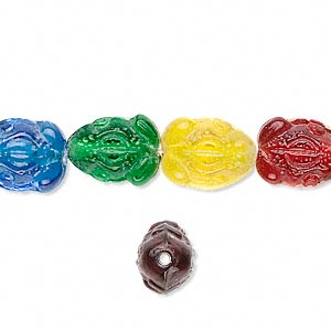bead, glass, assorted colors, 13x9mm frog. sold per 16-inch strand.