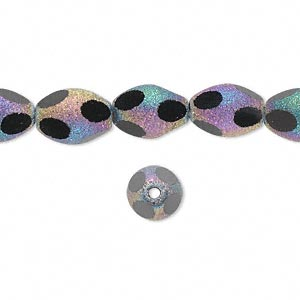 bead, glass, black with pastel stardust finish, 11x8mm faceted oval. sold per 16-inch strand.