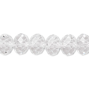 bead, glass, celestial crystal, 48-facet, clear, 10x8mm faceted rondelle. sold per 16-inch strand.