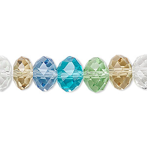 bead, glass, celestial crystal, 48-facet, pastel tones, 10x8mm faceted rondelle. sold per 16-inch strand.