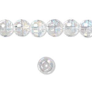 bead, glass, clear ab, 7-8mm faceted round. sold per 16-inch strand.