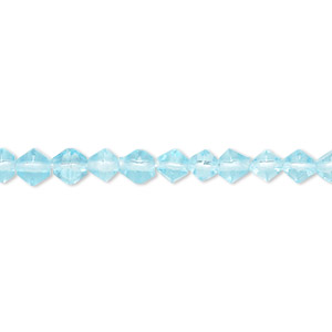 bead, glass, dark aqua, 4-5mm faceted bicone. sold per 12-inch strand.