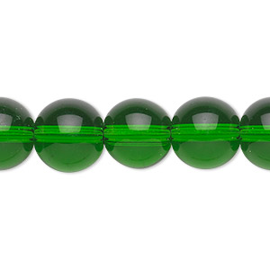 bead, glass, emerald green, 12mm round. sold per 36-inch strand.