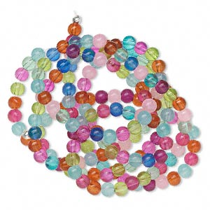 bead, glass, fruit colors, 6mm round. sold per 36-inch strand.