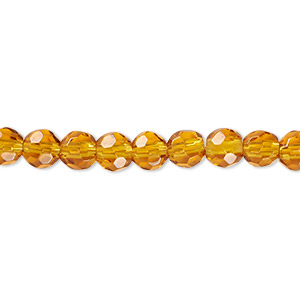 bead, glass, honey, 5-6mm faceted round. sold per 12-inch strand.