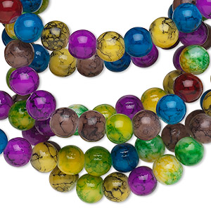 bead, glass, jewel tones, 6mm round. sold per 36-inch strand.