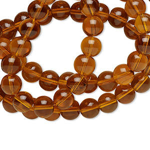 bead, glass, light brown, 12mm round. sold per 36-inch strand.