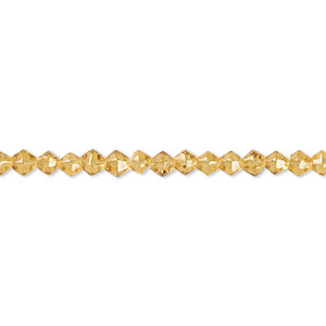 bead, glass, light honey, 3-4mm faceted bicone. sold per 12-inch strand.