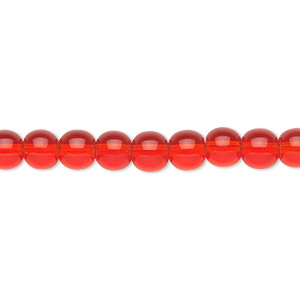 bead, glass, light red, 6mm round. sold per 36-inch strand.