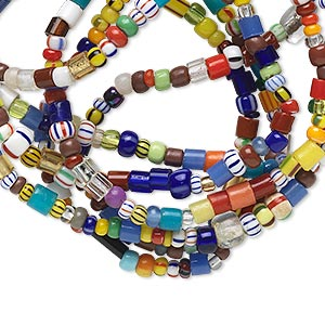 bead, glass, multicolored, 2x1mm-4x3mm mixed shape. sold per 31- to 38-inch strand.