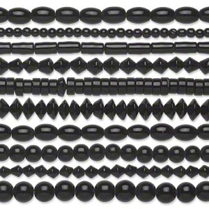 bead, glass, opaque black, 5mm-11x8mm mixed shapes. sold per pkg of (10) 16-inch strands.