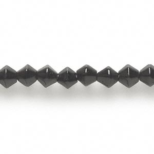 bead, glass, opaque black, 6x6mm double cone. sold per 16-inch strand.