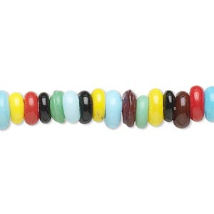 bead, glass, opaque multicolored, 6x2mm-7x3mm rondelle, 2-3mm hole. sold per 16-inch strand.