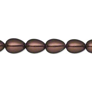 bead, glass pearl, brown, 9x7mm teardrop. sold per 15-inch strand.