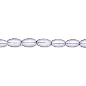 bead, glass pearl, lilac, 7x4mm-8x4mm oval. sold per 15-inch strand. minimum 2 per order.