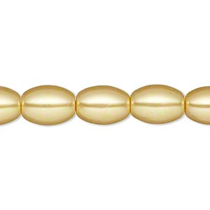 bead, glass pearl, sun yellow, 11x8mm oval. sold per 15-inch strand. minimum 2 per order.