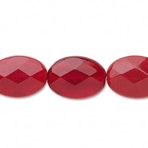 bead, glass, red, 18x13mm faceted flat oval. sold per 16-inch strand.